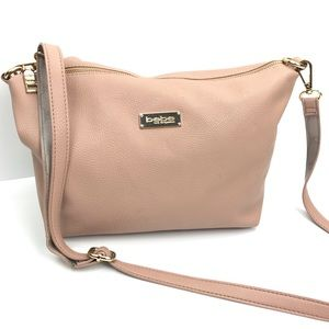 Bebe Blush Pink Faux Pebbled Leather Crossbody Bag